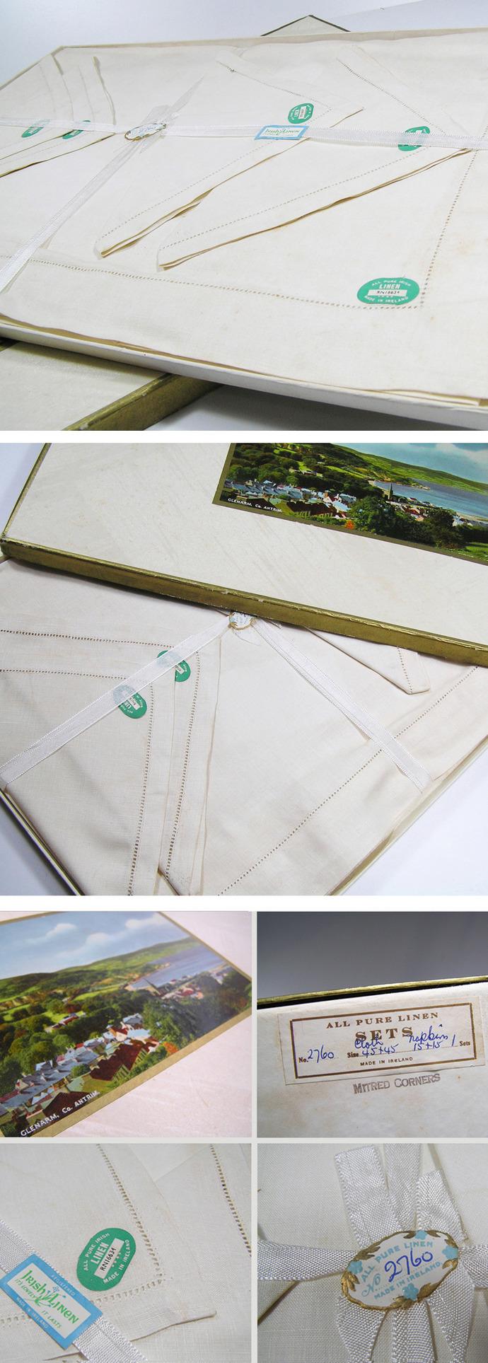 Irish linen napkin and table cloth set, still in original vintage box.