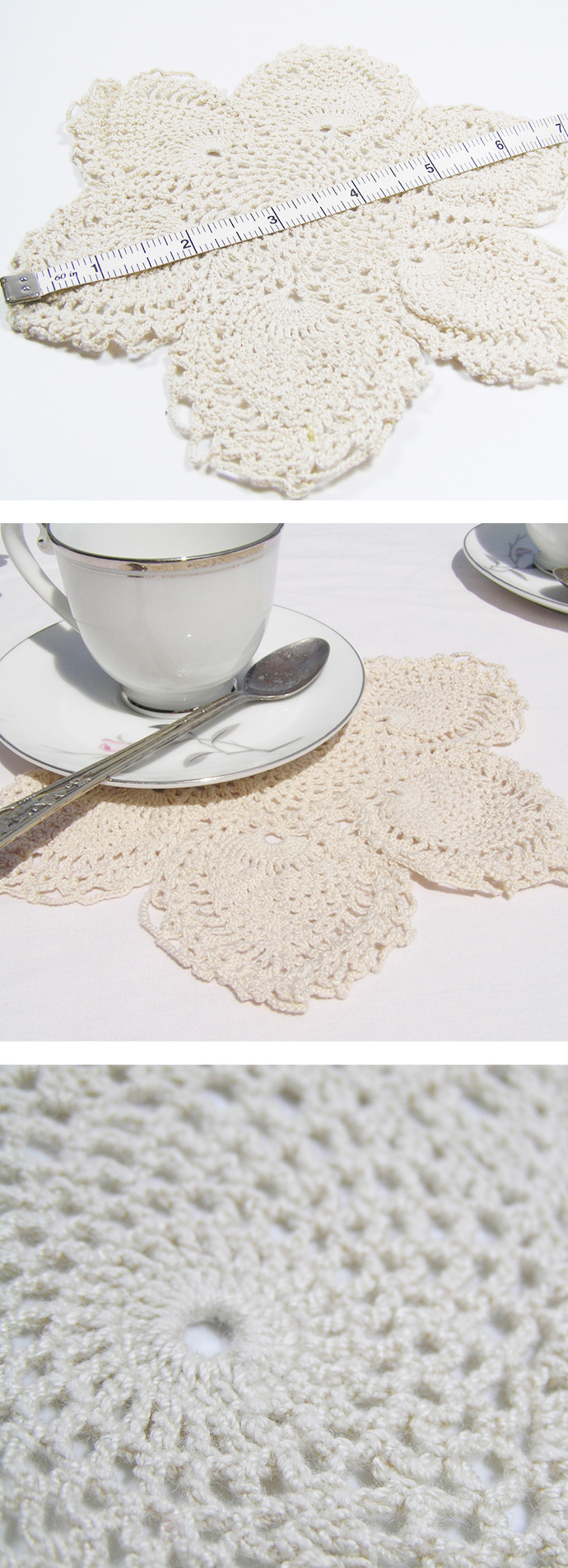 Vintage Crochet flower doily with scalloped edge, pineapple fan pattern.