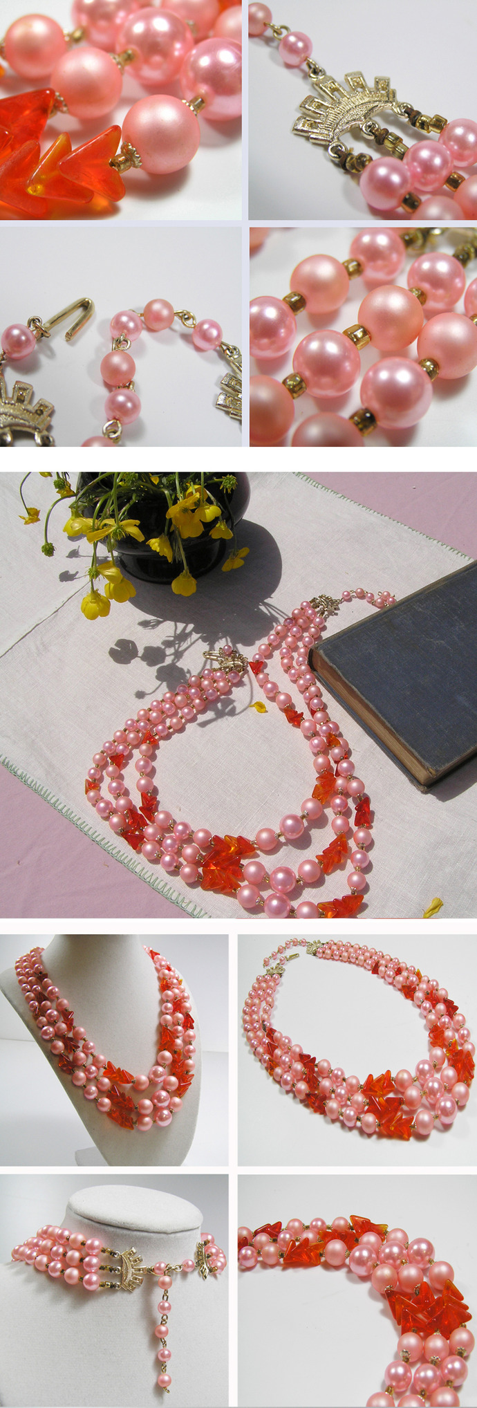 Vintage Pink pearls and orange beads necklace