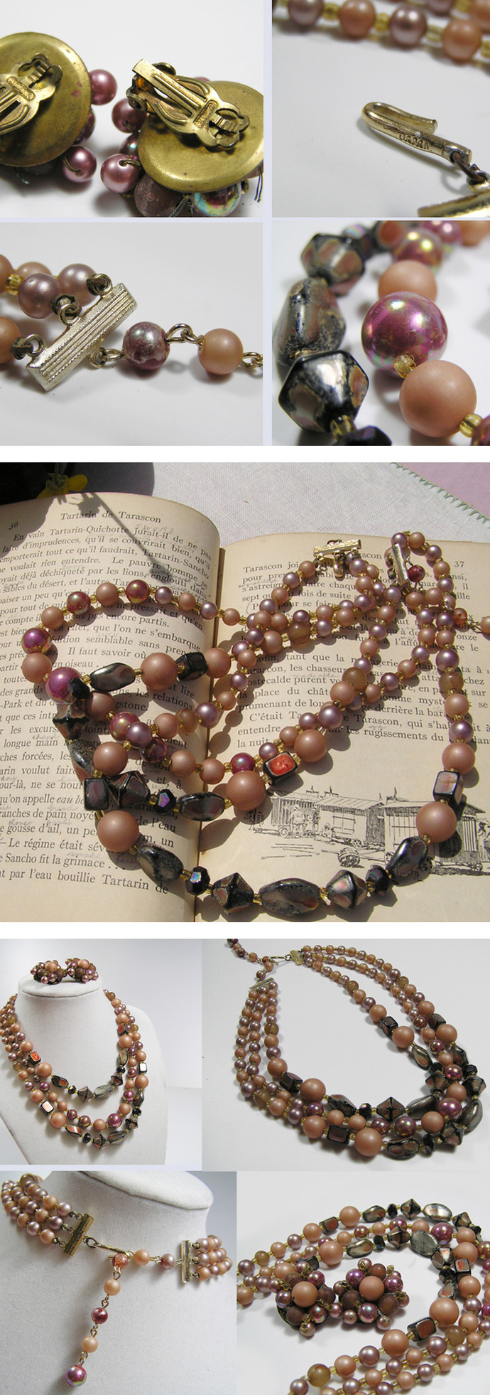Vintage Brown pearl necklace and earring set