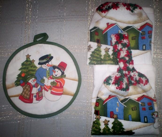 Christmas Snowman Design Kitchen Hanging Towels w/ Handmade Crochet Hanger Set 3