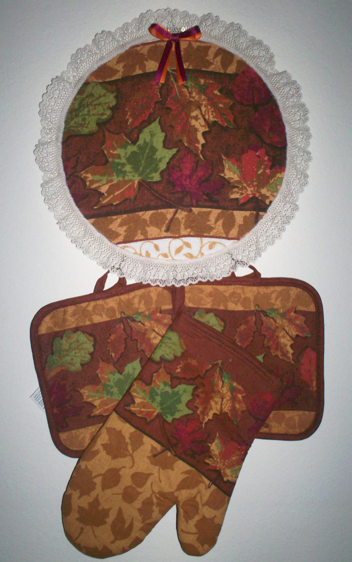 Fall Leaf Design Kitchen Hanging Hoop Wall Decor 4pc