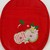 Oval Quilted Red Cotton Twill Pot Holder with Neoprene Back and Apple Embroidery