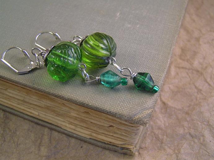 Green glass Victorian style earrings