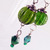 Green glass Victorian style earrings
