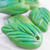 Apple green leaf beads,  set of 8