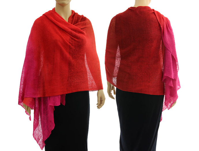 Artsy boho knitted linen shawl wrap cape, hand dyed in red with pink - lagenlook
