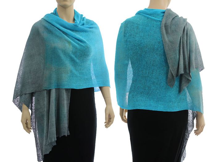 Artsy boho knitted linen shawl wrap cape, hand dyed in blue with grey -