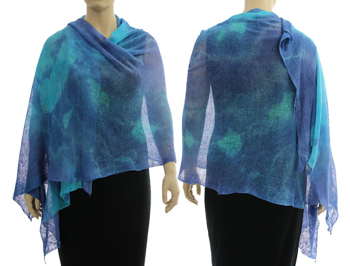 Artsy boho knitted linen shawl wrap cape, hand dyed in  blue shades - lagenlook