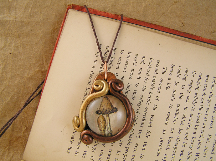 Mushroom victorian illustration pendant in gold, brass, and copper