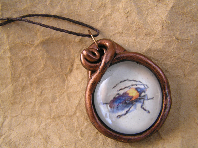 Beetle victorian illustration pendant in copper