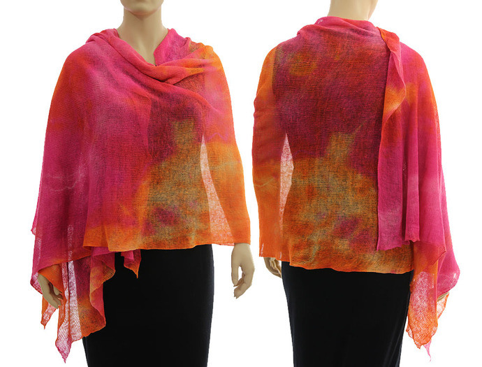 Artsy boho knitted linen shawl wrap cape, hand dyed in pink orange - lagenlook