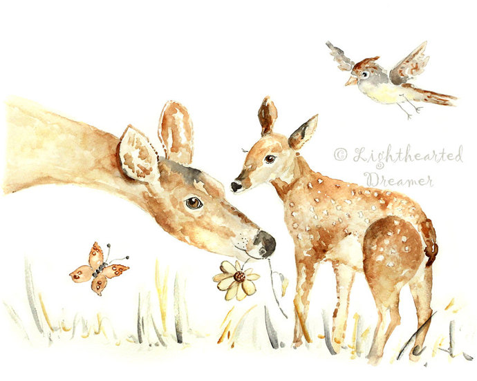 Woodland Nursery Art, Nursery Print, Fawn, Animal Watercolor, Deer Print, Deer