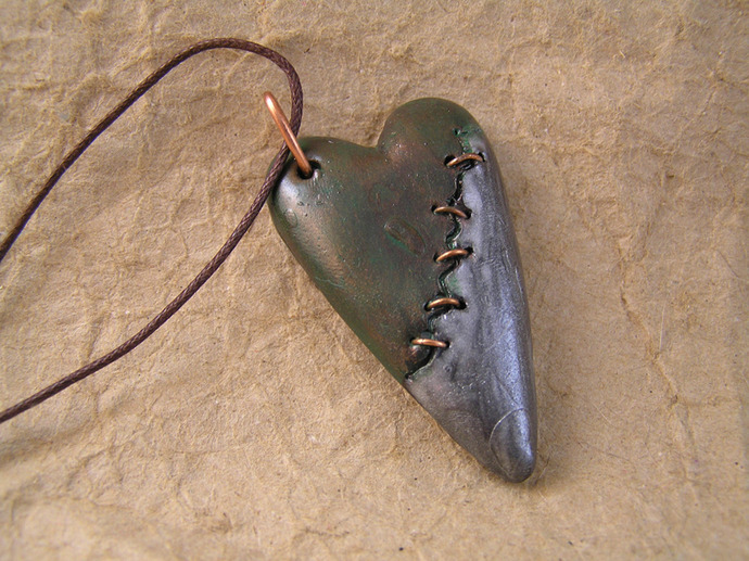 Copper stitched Steampunk broken heart pendant in verdigris copper and silver