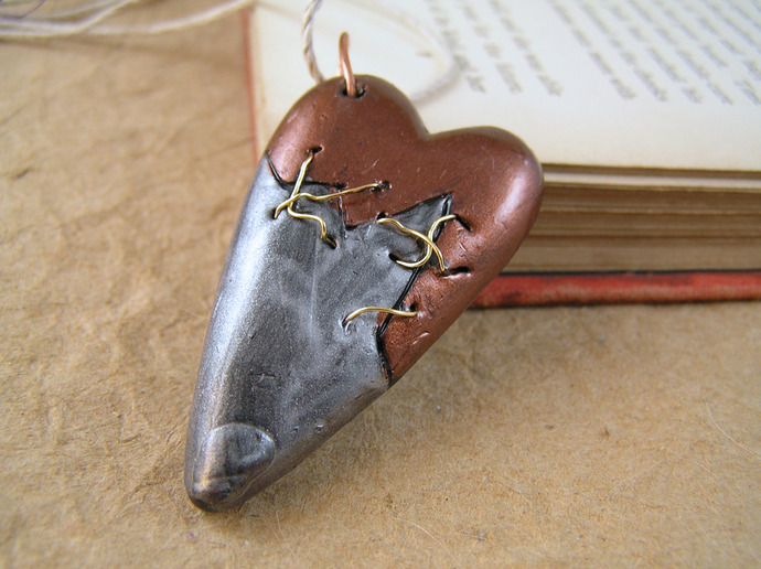 Gold stitched Steampunk broken heart pendant in copper and silver