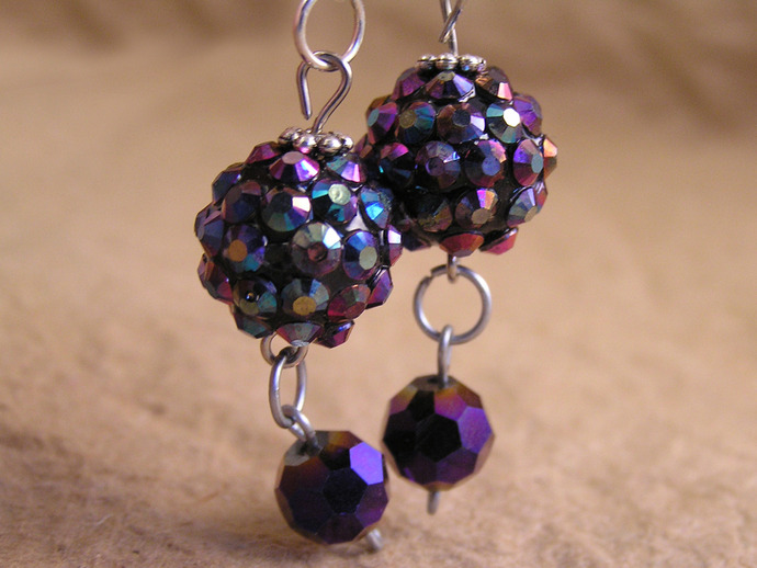 Purple disco dangle earrings with Tibetan silver daisy spacers