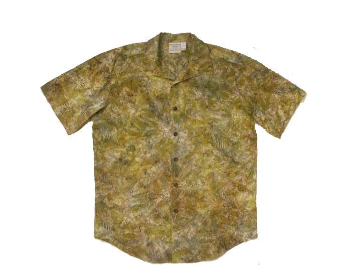 Yellow / Tan Batik Aloha Shirt - Size Medium