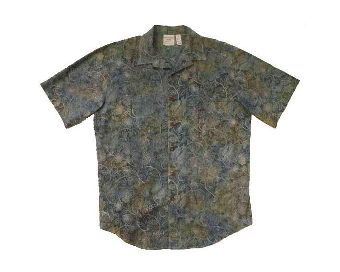 Slate Blue / Tan Floral Batik Cotton Aloha Mens Shirt - Size Medium