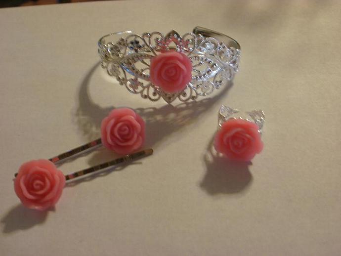 Pink Rose Filigree Set (Z119)