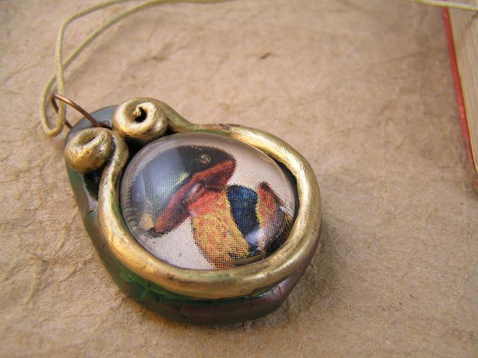 Fat mushroom victorian illustration pendant in verdigris copper and gold