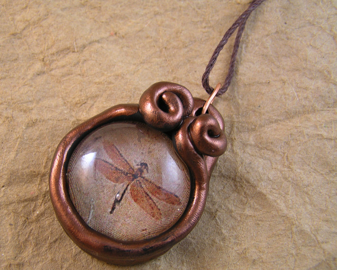 Dragonfly fossil pendant in copper