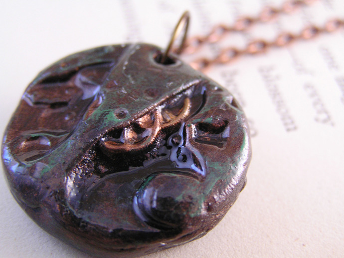 Steampunk clockworks  pendant with copper and verdigris finish
