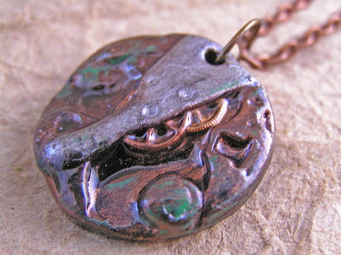Steampunk Watch movement pendant with silver and copper finish