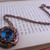 Victorian Gentleman steampunk pendant in blue and copper