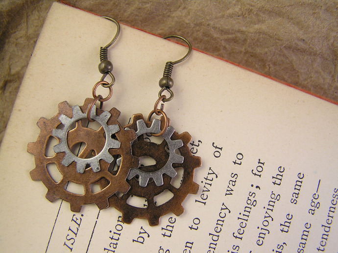 Steampunk Clockwork Gear earrings in copper & nickle silver