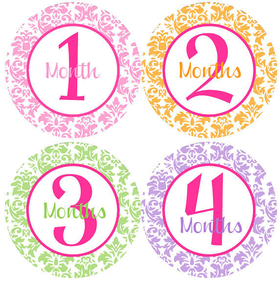 Girl Monthly Stickers - Baby Monthly Stickers - Pink, Orange, Green, Purple