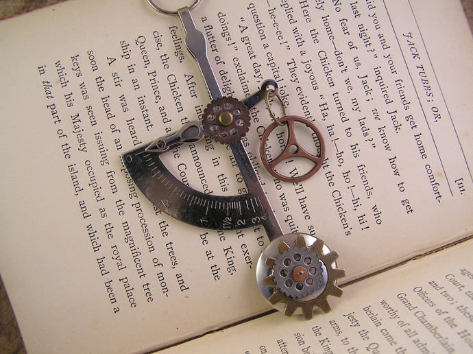 Steampunk airship necklace with copper, silver, & brass clockwork parts