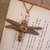 Copper Steampunk dragonfly pendant with Bronze gear details
