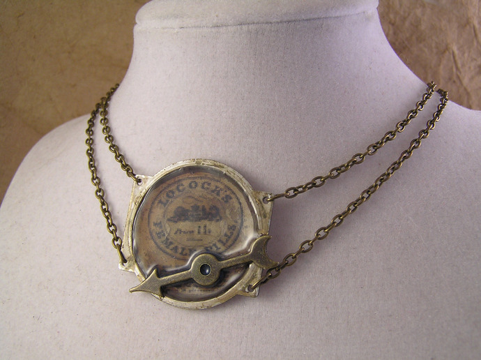 Steampunk Victorian ad double chain choker necklace