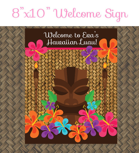 Hawaiian Luau Birthday Party Welcome Sign - 8x10 Welcome Sign - Printable Luau