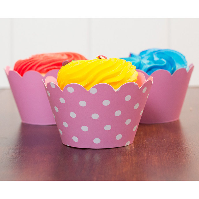 12 Light Pink Polka Dot REVERSIBLE Cupcake Wrappers - Solid Pink & Polka Dot
