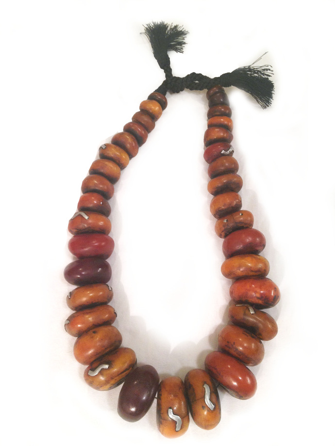 SALE: Antique African Moroccan Berber AMBER Trade Bead Necklace