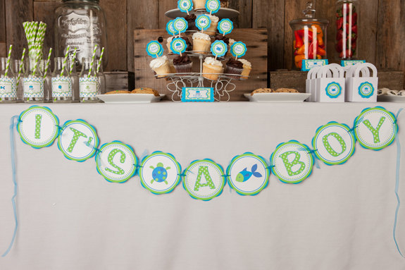 Under the Sea Baby Shower Decorations - IT'S A BOY Baby Shower Banner - Ocean