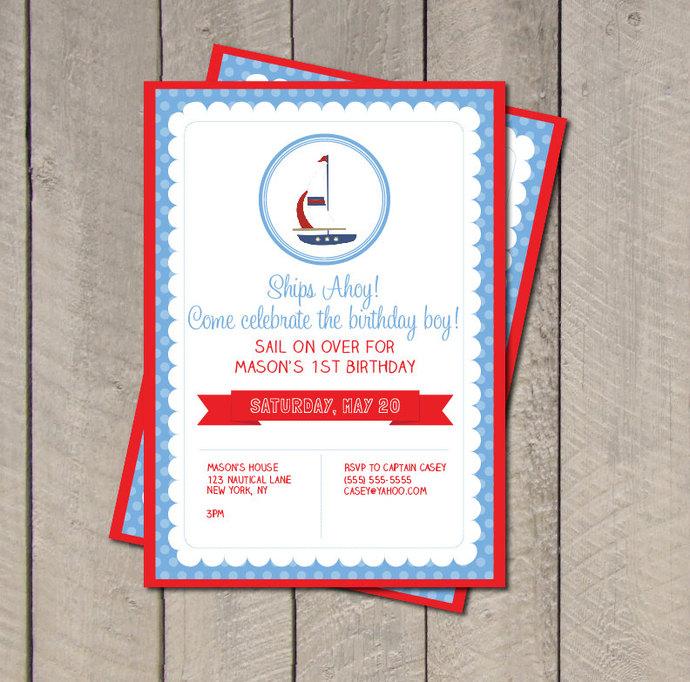 Sailboat Birthday Party Invitation - Sailboat Invitation - Digital Printable