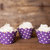 12 Purple Polka Dot Cupcake Wrappers - Purple Cupcake Wrappers - Great for