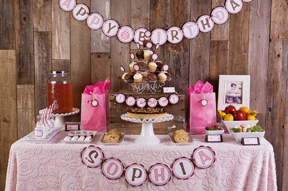Pink Owl Theme HAPPY BIRTHDAY Banner GetThePartyStarted