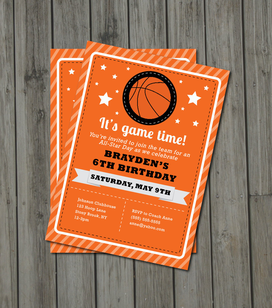 basketball birthday party invitation by getthepartystarted on zibbet