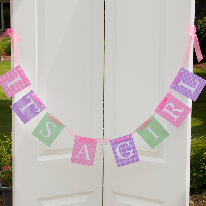 IT'S A GIRL Banner - Baby Shower Banner - Hospital Welcome Banner - Pink,
