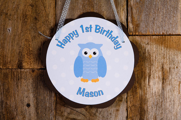Owl Door Hanger Party Sign