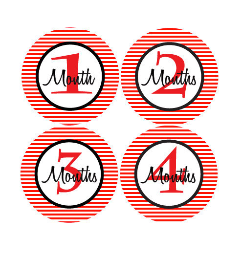 Baby Month Stickers Baby Boy Monthly Milestone Stickers Red and Black Month