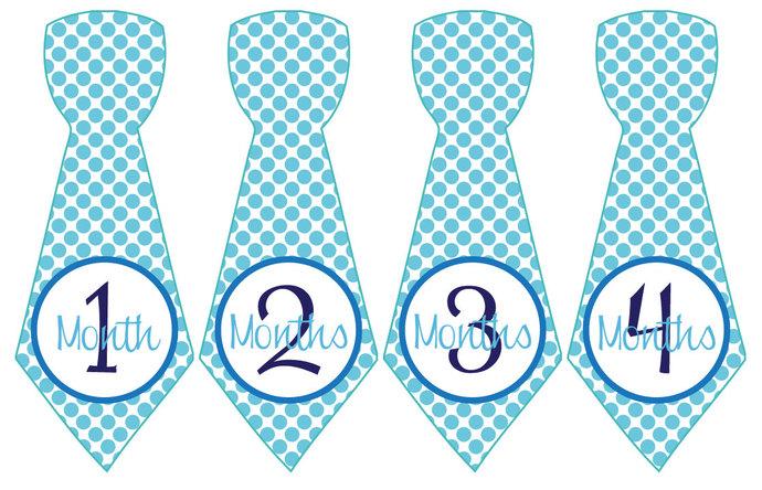 Baby Month Stickers Baby Boy Monthly Milestone Stickers Blue Aqua Polka Preppy