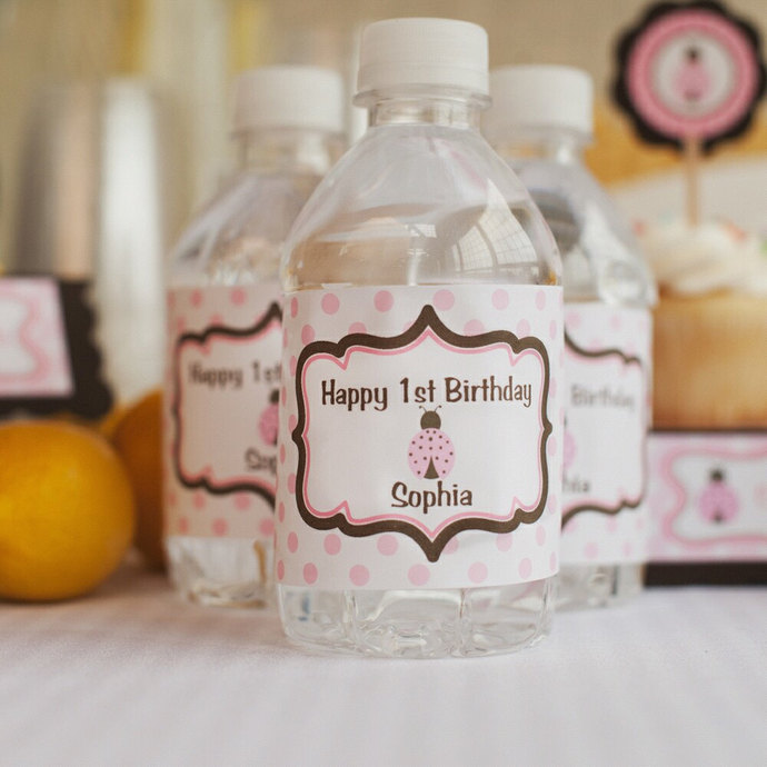 Water Bottle Labels - Birthday Party Decorations - Pink & Brown Ladybug Theme