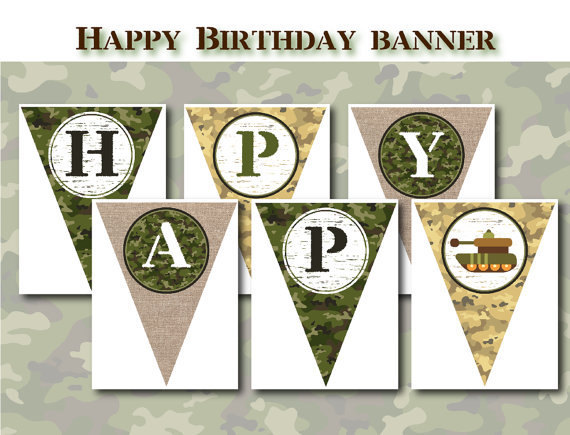 Printable Birthday Banner ~ Army theme printable birthday party by getthepartystarted on zibbet