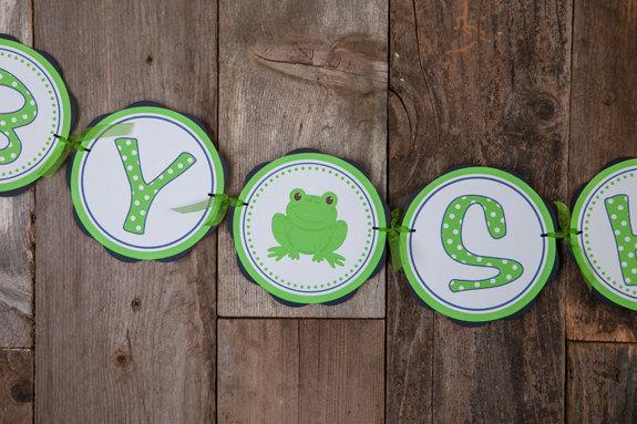 Frog Baby Shower Banner Baby Shower By Getthepartystarted On Zibbet