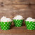 12 Green Polka Dot Cupcake Wrappers - Green Cupcake Wrappers - Great for