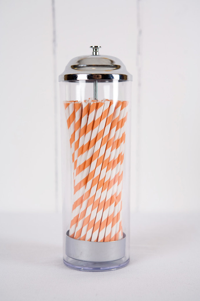 50 Paper Straws - Made in the USA - Orange and White Striped - Drinking Straws -